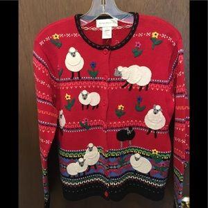 Susan Bristol Spring Lamb Cardigan Sweater Size S